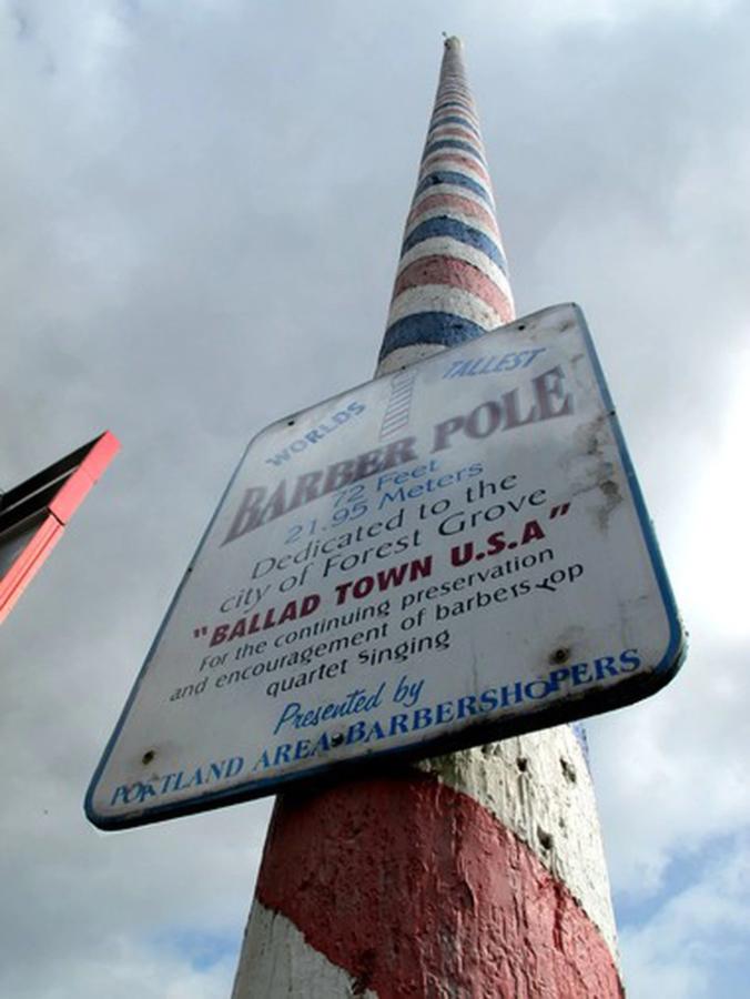 worlds tallest barber pole forest grove oregon