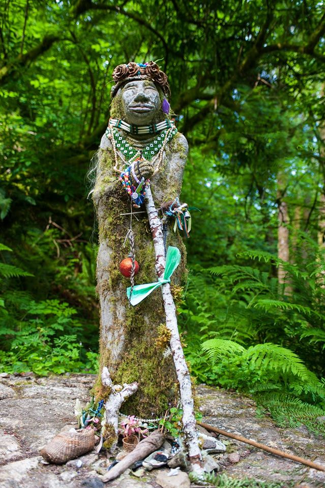 native american statue of amanda in the forest near yachats oregon