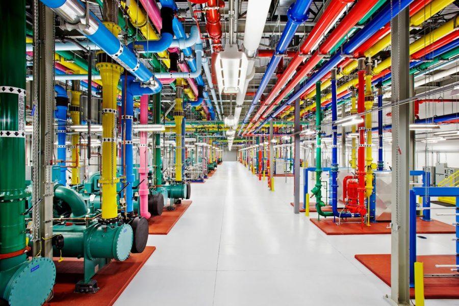 Google Data Center The Dalles Oregon colored pipes
