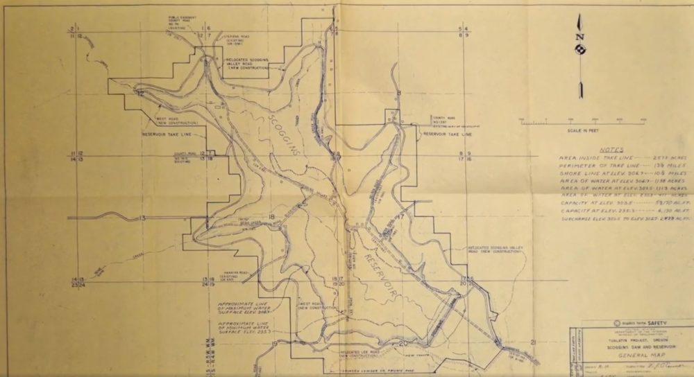 scoggins valley hagg lake antique map