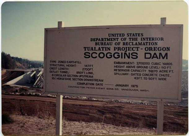 scoggins valley dam construction sign