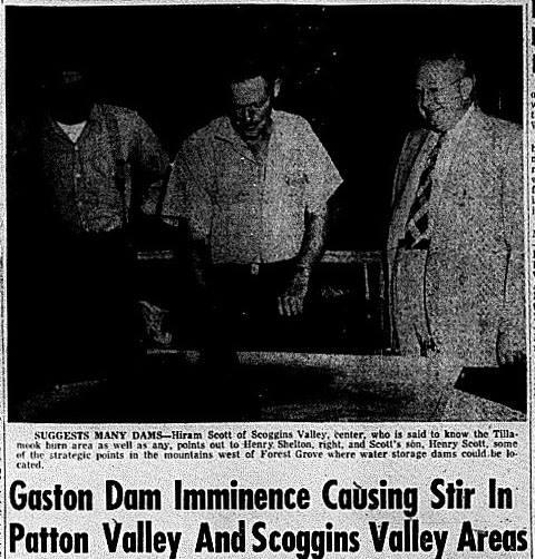 newspaper clipping scoggins valley oregon dam